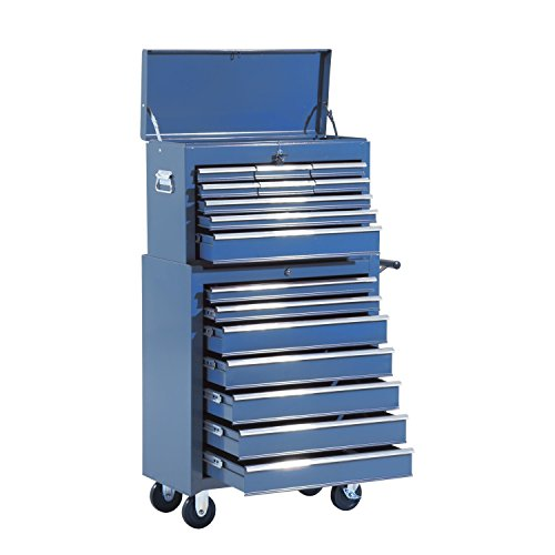 Homcom Fahrbarer Werkstattwagen, abschließbar mit 16 Schubladen, blau
