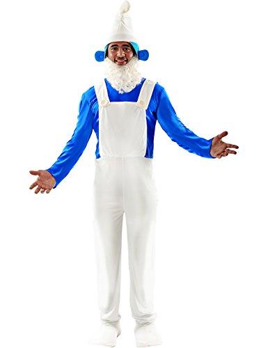 Mens Blue Garden Gnome Smurf Dwarf Cartoon Stag Fancy Dress Costume Standard