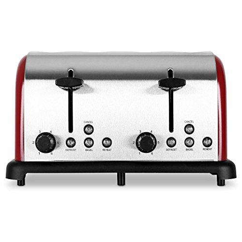 Klarstein tk-bt-211-r, tostapane automatico 4 fette, 1650 watt, rosso