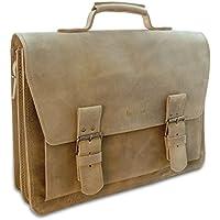 Made in Germany Laptoptasche - Messenger Bag WARSAW aus braunem Leder inkl. Bio-Lederpflege von THIELEMANN