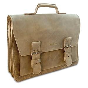 Made in Germany Laptoptasche – Messenger Bag WARSAW aus braunem Leder inkl. Bio-Lederpflege von THIELEMANN