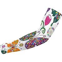 Mangas de protección para el brazo sin costuras, diseño floral, coloridas mariposas y flores, protección solar, unisex, para deportes al aire libre (1 par)