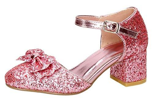 Lora Dora Mädchen Blockabsatz Party Schuhe Mary Jane Strap, Pink - Pink - Bow - Größe: 32 EU -