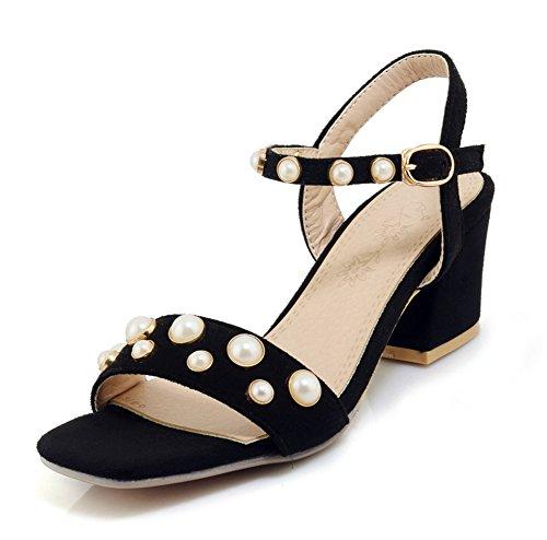 Aisun Damen Kunstleder Offene Zehen Perlen Blockabsatz Fesselriemchen Sandale mit Schnalle Schwarz 40 EU (Sandalen Frühling Schritt Klassische)