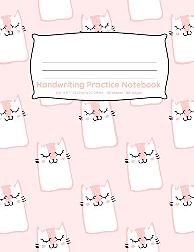 Handwriting Practice Notebook: 100 pages of handwriting practice for back to school Cute peach cats design (Handwriting Practice Notebooks for Kindergarten First Grade Second Grade, Band 36) -