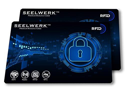 2X RFID Blocker Karte, NFC Blocking Schutzkarten verhindern Auslesen & Datenklau von Kreditkarten, Scheckkarten, Personalausweis & Reisepass. Nie Wieder einzelne Schutzhüllen! (Blau)