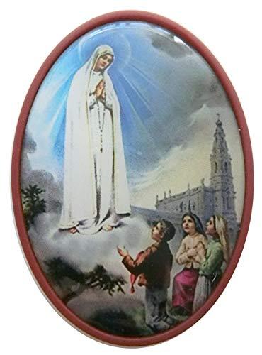 GTBITALY - Portarretratos de plástico Ovalado con Imagen de la Virgen de Fátima, Color Rojo Oscuro