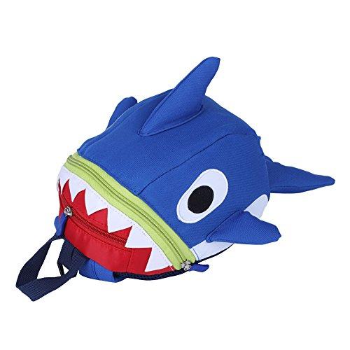 Zerodis Rucksack Kinder Kindergarten Backpack Schultasche Cartoon Shark Anti-Verlorene mit Sicherheitsleine für Kleinkinder(Blau)