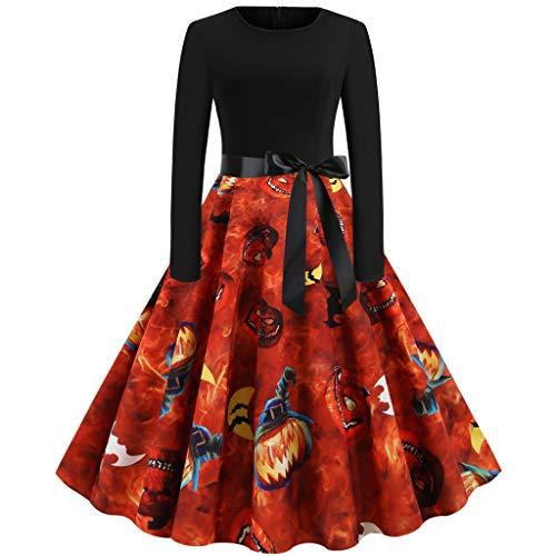 INLLADDY Costume Halloween Kostüm Damen kürbis Vintage Retro A-Linie Elegant Lange Ärmel Kürbis Printed Skater Kleider Halloween Kostüm Cocktailkleid Party Kleid Orange - Orange Power Ranger Kostüm