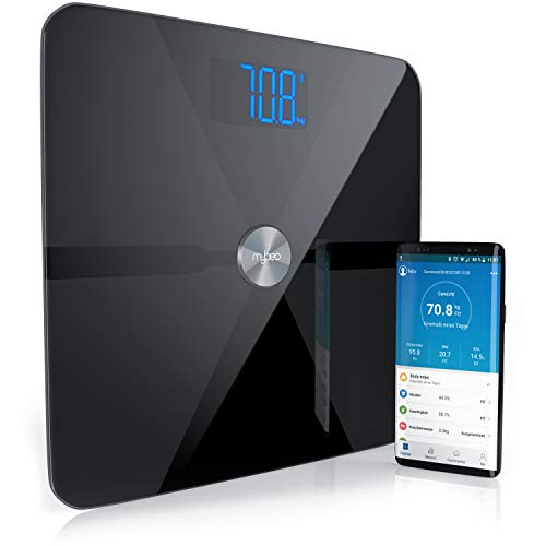 Mybeo - Bluetooth Körperfettwaage | Digitale Multifunktionswaage | Körperanalysewaage mit App | Körperwaage / Personenwaage | für iOS und Android | Bestimmung von BMI, Körperfett, Wasserprozentanteil