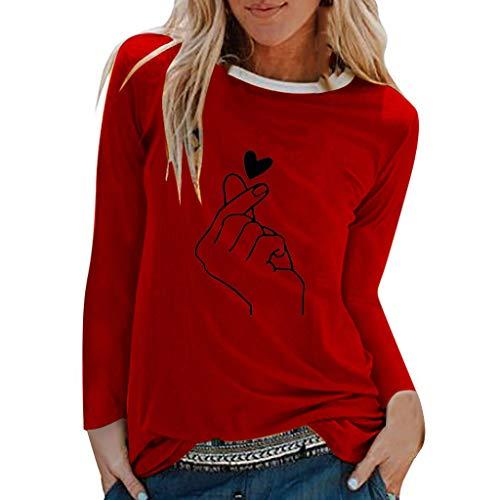 Sweat-Shirt Courte Femme, Femmes Casual Manches Longues O Neck T-Shirt Imprimé Rose Fille Pull Sweat Tops BlouseLa Mode Des Femmes Grandes Tailles Occasionnels LâChe Occasionnels Blouse Sweatshirts