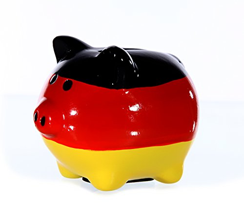 Preis am Stiel Spardose ''Schwein'' Deutschland | Spardose für Kinder | Fanartikel | Sparschwein |...