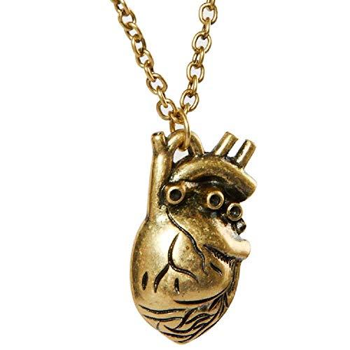 KIRALOVE Halskette Goldfarben Anatomisches Herz Frau Bijoux Unisex Mann Geburtstag Weihnachten Valentinstag Kostüm Schmuck Sie Ihn Mädchen - Für Sie Und Ihn Sexy Kostüm