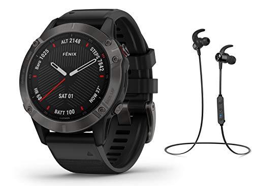 Garmin Fenix 6 Pro Saphir/Sapphire - GPS Multisportuhr - schwarz inkl. Bluetooth Headset