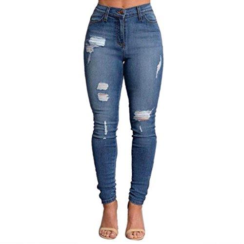 Koly_Donne Pencil Stretch denim strappati Skinny jeans pantaloni a vita alta Jeans (Blu, XL)