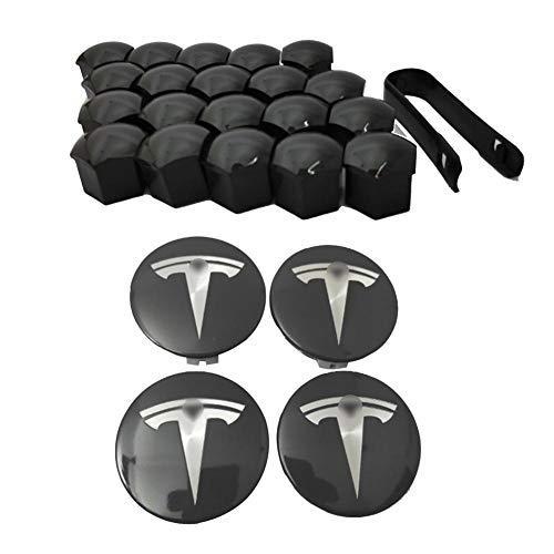 belukies for Tesla Model 3 Car Wheel Logo Hub Center Caps Cover Wheel Nut Bolt Protector Cap Wheel Lug Nut Bolt Cover Kits