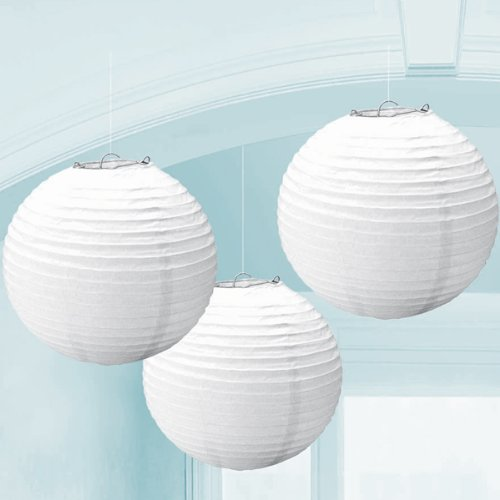 Kolossalz White Hanging Round Paper Lamp-10 Inch