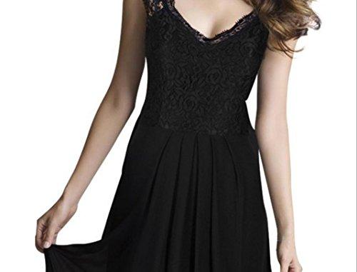YCMDM Femmes Robe Europe Et Les Etats-Unis Nouvelle Dentelle Stitching Mousseline Robe Longue Robe Longue Black