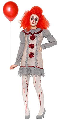 (Fancy Me Damen Vintage Grau Horror Gruselig Unheimlich Killer Clown Zirkus Karneval Buch Film Halloween Kostüm Kleid Outfit UK 8-18 - UK 16-18)