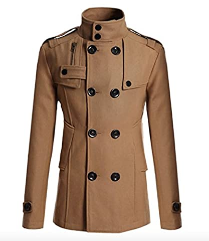Manteau Classique Long Homme - Elonglin Homme Classique Manteau Long Double Boutonnage