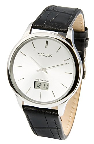 Elegante Herren Funkarmbanduhr mit Junghans-Uhrwerk, Edelstahlgehäuse, Lederarmband 964.4717.78