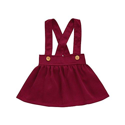 Kobay Kinder Baby Mädchen Solide Overalls Kleider(6-12M,Rot)
