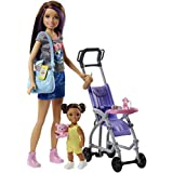 Barbie FJB00 FAMILY Babysitter Brunette Doll with Baby and Accessories, with Pram Playset, Multi-Colour, 0