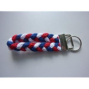 1 Schlüsselanhänger Schlüsselband in rot weiß blau aus Strickliesel-Schnüren