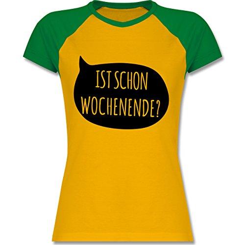 Shirtracer Statement Shirts - ist Schon Wochenende? - Zweifarbiges Baseballshirt/Raglan T-Shirt für Damen Gelb/Grün