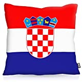 Die besten Handwerklich Outdoor-Fans - VOID Kroatien Croatia Polyester Kissenbezug Flagge Fahne Fan-Kissen Bewertungen