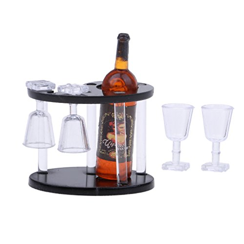 Baoblaze 1/12 Puppenhaus Esstisch Bar Zubehör - Miniatur Champagner Flasche + Weinregal + 4 Glases aus Kunststoff - Rot