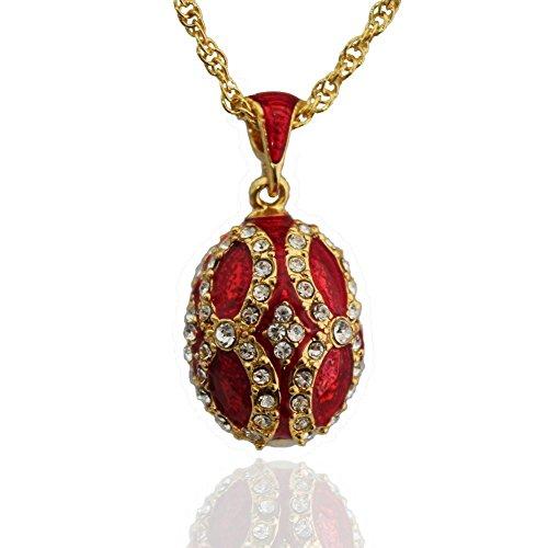 e9ec4aa97d Pendentif Oeuf Style Fabergé Plaquage Or ,Email, 92 Cristaux Swarovski  Elements \
