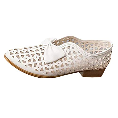Damenschuhe/Dorical Frauen Retro Slip-on Hohl Flache Sandalen aus PU, Casual Outdoor rutschfest Gartenschuhe Freizeitschuhe,Elegante Sandaletten 35-43 EU Ausverkauf(Weiß,42 EU) -