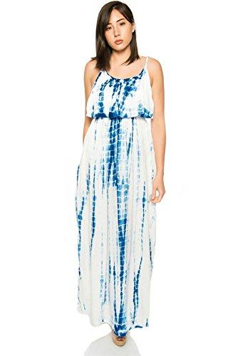 Mesdames, Pistachio, Tie Dye pli rayé Overlay robe Maxi Bleu (Splash)