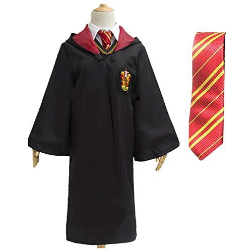 Unisex Mantello Uniforme Scolastica dell'uniforme di Halloween Magic Long Robe con la Cravatta (Rosso, M)