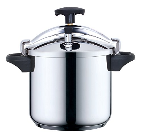 Kitchen Move CSB24-8L Schnellkochtopf, mit Deckelbügel, 8 l, Durchmesser 24 cm, Edelstahl / Schwarz (Schnellkochtopf 8 Liter)