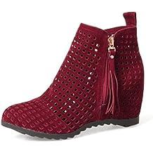 Easemax Damen Modisch Ankle Riemen Nubuk Kurzschaft Stiefel Mit Absatz Rot 45 EU 2F4bhPByT