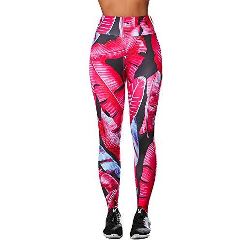 NINGSANJIN Damen Hosen Frauen Höhe Taille Yoga Fitness Leggings Laufen Stretch Sporthose Hose 776 (Rot,M)