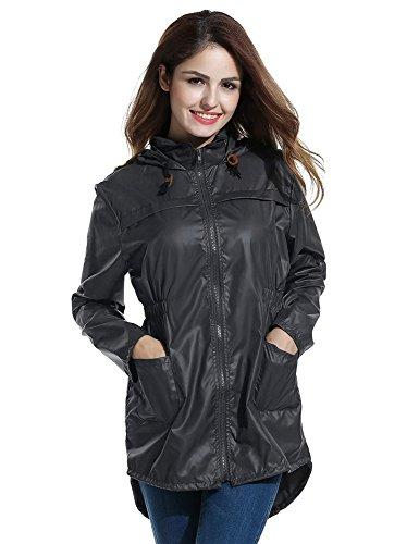 Regenmantel Damen, Pagacat Punkte Fischschwanz Wasserdicht Atmungsaktiv Regenjacke Regenponcho mit Kapuze Tasche Schwarz