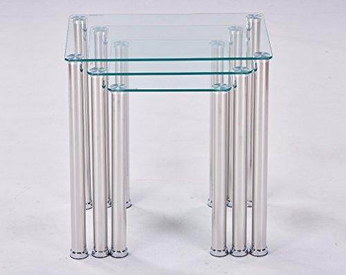 Euro Tische 3 Satztisch Beistelltisch aus Glas in 3 ver. Farben Klar Glas -