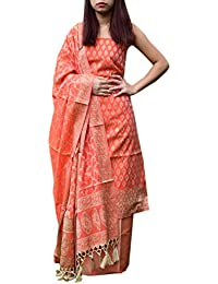 GiftPiper Benarasi Jamdani Brocade Suit In Silk-Cotton-Dark Peach