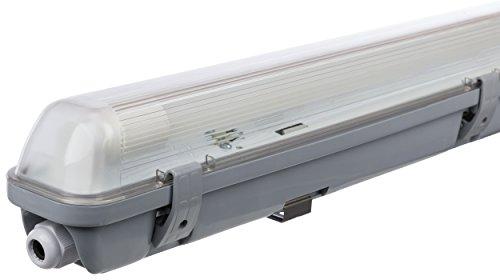 feuchtraumwannenleuchte Müller Licht 20800196 A+, Feuchtraumleuchte Aqua-Promo 1 x 18 W LED Röhre, Plastik, grau, 126.5 x 7.2 x 8.6 cm
