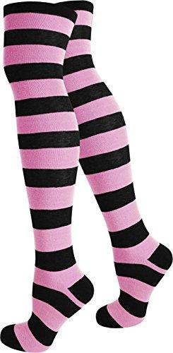 normani Top modische Damen Overknees in verschiedenen Designs/Baumwolle mit Elasthan Auswahl Farbe Schwarz/Rosa/Breit Größe ()