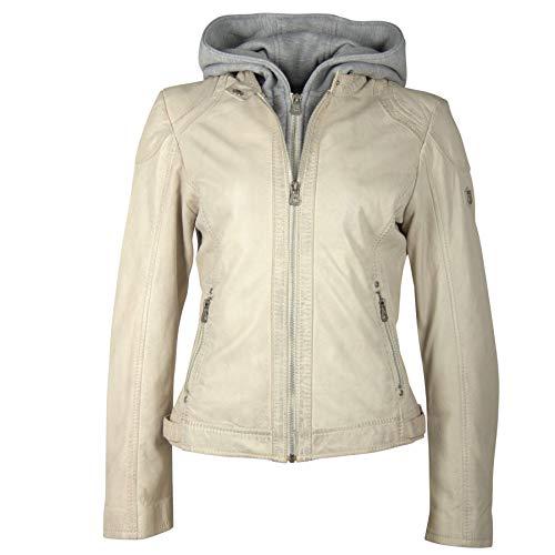 Gipsy Damen Lederjacke aus feinstem Lammnappa Leder pflanzlich gegerbt mit Abnehmbarer Kapuze (L, Off White) - Kapuze Weiße Lederjacke Mit