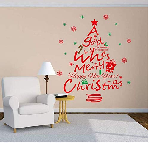 bedroom wall stickers for teen girlsChristmas Window Glass Red Christmas Tree PVC Wall Stickers Removable Decals Mural Decal Removable DIY Wall Sticker 109x87cm -