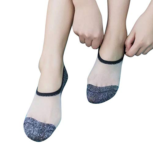 NPRADLA 2018 Damen Socken Mode Glitter Glas Seide Ultra dünne Transparente Kristall Sommer