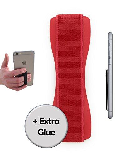 A/v-ständer Glas (CASE-HERO Premium Smartphone Fingerhalterung | inkl. ERSATZKLEBER | EINHAND Modus für Handy, Tablet, eReader | Hülle & Case | Auto Outdoor Finger Halterung | iPhone 6/7/plus, iPad, Samsung Galaxy (Rot/Rot))