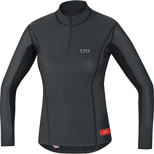 GORE WEAR Damen Kurzarm Essentials Base Layer Windstopper Turtleneck Shirts, Schwarz, 38 Essential Windstopper