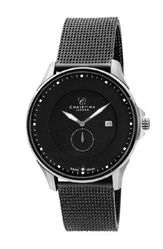 Design Christina London Damenuhr Quarz Men'mit schwarzem Zifferblatt Analog-Anzeige und Schwarz-Edelstahl-Armband 518SBL-MESH