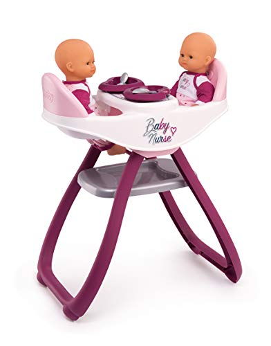 Smoby - 220344 - Baby Nurse - Chaise Haute Jumeaux - Transformable en Bascule - + 4 Accessoires Inclus